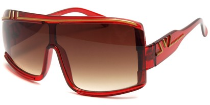 Angle of SW Retro Asymmetrical Style #97 in Red Frame, Women's and Men's