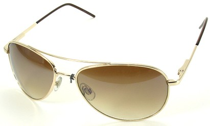 Angle of SW Aviator Style #1182 in Gold Frame with Gold Lenses, Women's and Men's