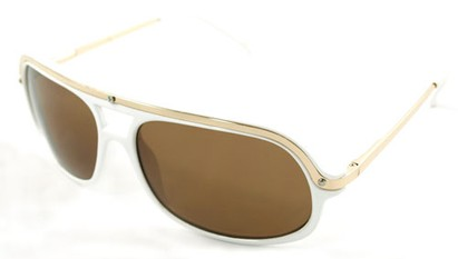 Angle of SW Aviator Style #4115 in White Frame with Amber Lenses, Women's and Men's