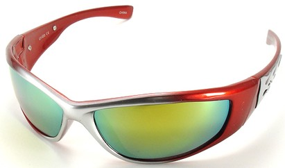 Angle of SW Flames Style #1950 in Red and Silver Frame, Women's and Men's