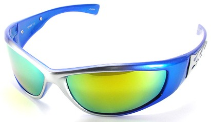 Angle of SW Flames Style #1950 in Blue and Silver Frame, Women's and Men's