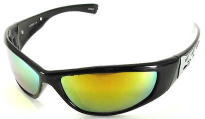 Angle of SW Flames Style #1950 in Black Frame with Yellow Lenses, Women's and Men's