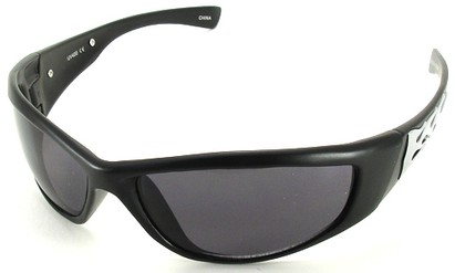 Angle of SW Flames Style #1950 in Black and Silver Frame, Women's and Men's