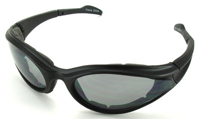 Angle of SW Shatterproof Goggles Style #9887 in Black Frame with Smoke Lenses, Women's and Men's