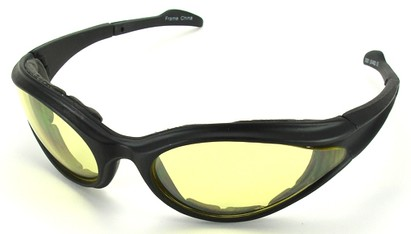Angle of SW Shatterproof Goggles Style #9887 in Black Frame with Yellow Lenses, Women's and Men's
