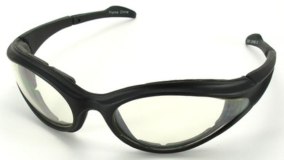 Angle of SW Shatterproof Goggles Style #9887 in Black Frame with Clear Lenses, Women's and Men's