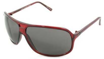 Angle of SW Oversized Aviator Style #4723 in Clear Red Frame, Women's and Men's