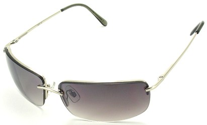 Angle of Mediterranean #6021 in Silver Frame with Smoke Lenses, Women's and Men's Square Sunglasses