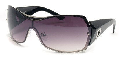 Angle of SW Shield Style #749 in Black and Silver Frame, Women's and Men's
