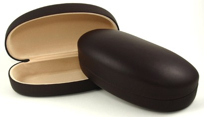 Angle of Large Brown Hard Sunglasses Case in Brown, Women's and Men's