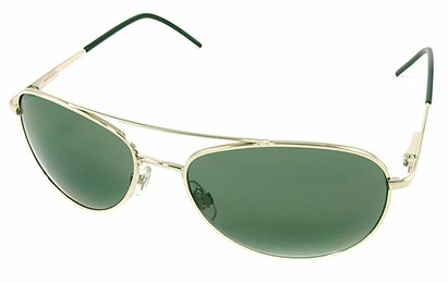 Angle of SW Aviator Style #1182 in Gold Frame with Green Lenses, Women's and Men's