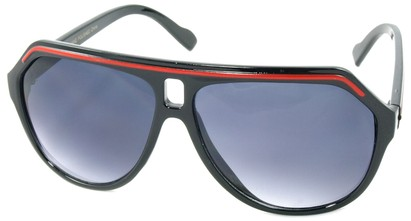 Angle of SW Aviator Style #1351 in Black with Red Frame, Women's and Men's