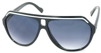 Angle of SW Aviator Style #1351 in Black with White Frame, Women's and Men's
