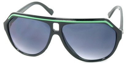 Angle of SW Aviator Style #1351 in Black with Green Frame, Women's and Men's
