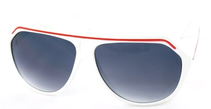 Angle of SW Aviator Style #1351 in White with Red Frame, Women's and Men's