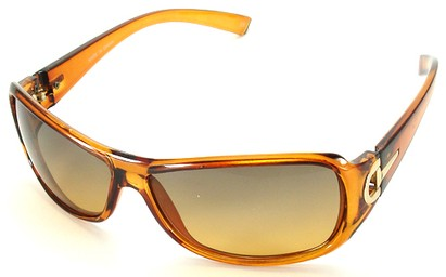 Angle of SW Fashion Style #241 in Brown and Gold Frame with Amber Lense, Women's and Men's