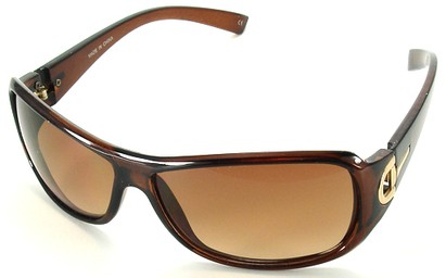 Angle of SW Fashion Style #241 in Brown and Gold Frame with Amber Green Lense, Women's and Men's