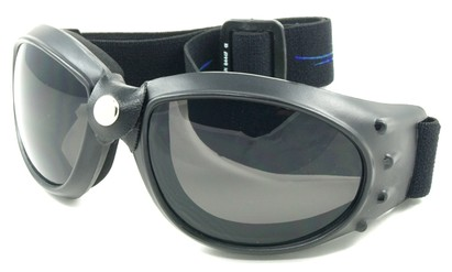 Angle of SW Goggles Style #9883 in Blue Strap with Smoke Lenses, Women's and Men's