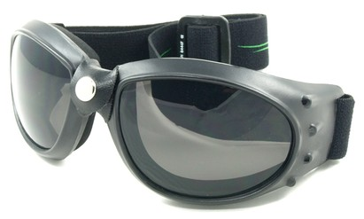 Angle of SW Goggles Style #9883 in Yellow and Green Strap with Smoke Lenses, Women's and Men's