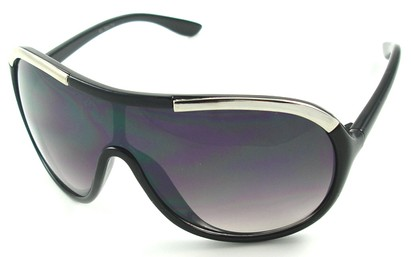 Angle of SW Oversized Shield Style #4724 in Black and Silver Frame, Women's and Men's