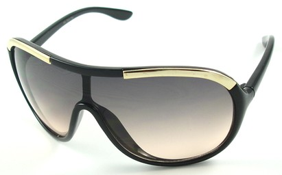 Angle of SW Oversized Shield Style #4724 in Black and Gold Frame, Women's and Men's