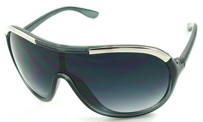 Angle of SW Oversized Shield Style #4724 in Gray and Silver Frame, Women's and Men's