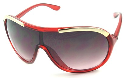 Angle of SW Oversized Shield Style #4724 in Red Frame, Women's and Men's