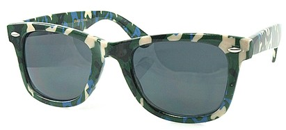 Angle of SW Retro Camouflage Style #1607 in Hunter and Blue Frame, Women's and Men's