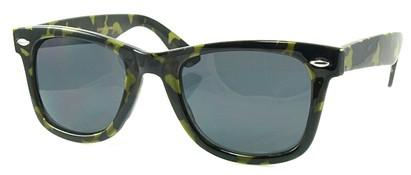 Angle of SW Retro Camouflage Style #1607 in Lime and Brown Frame, Women's and Men's
