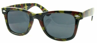 Angle of SW Retro Camouflage Style #1607 in Lime and Red Frame, Women's and Men's