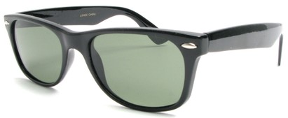Angle of SW Retro Style #1687 with Glass Lenses in Black Frame with Smoke Lenses, Women's and Men's