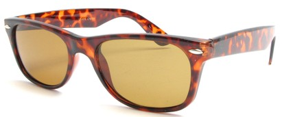 Angle of SW Retro Style #1687 with Glass Lenses in Brown Frame with Amber Lenses, Women's and Men's