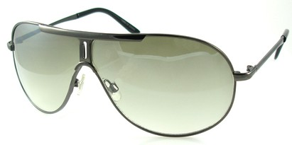Angle of SW Aviator Style #500 in Grey Frame with Green Lenses, Women's and Men's