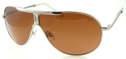 Angle of SW Aviator Style #500 in Silver Frame with Brown Lenses, Women's and Men's