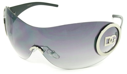 Angle of SW Rimless Shield Style #121 in Silver and Black Frame, Women's and Men's