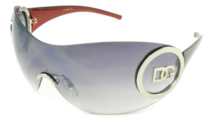 Angle of SW Rimless Shield Style #121 in Silver and Red Frame, Women's and Men's