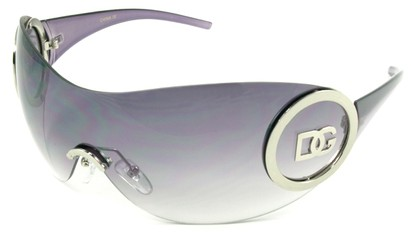 Angle of SW Rimless Shield Style #121 in Silver and Purple Frame, Women's and Men's