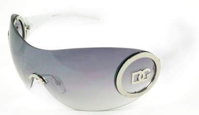 Angle of SW Rimless Shield Style #121 in Silver and White Frame, Women's and Men's