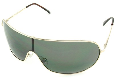 Angle of SW Shield Style #46 in Gold Frame with Dark Green Lenses, Women's and Men's