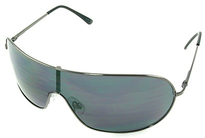 Angle of SW Shield Style #46 in Gray Frame with Blue Lenses, Women's and Men's