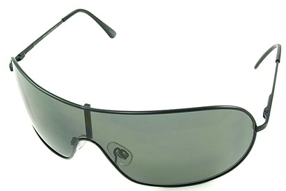 Angle of SW Shield Style #46 in Gray Frame with Green Lenses, Women's and Men's