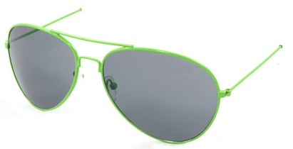 Angle of SW Neon Aviator Style #234 in Green Frame, Women's and Men's