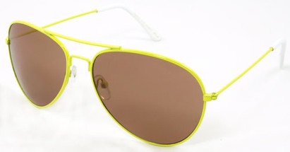 Angle of SW Neon Aviator Style #234 in Yellow Frame, Women's and Men's