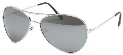 Angle of SW Aviator Style #435 in Silver Frame with Mirrored Lenses, Women's and Men's