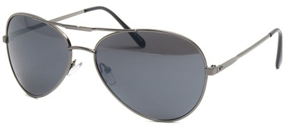 Angle of SW Aviator Style #435 in Grey Frame with Smoke Grey Lenses, Women's and Men's