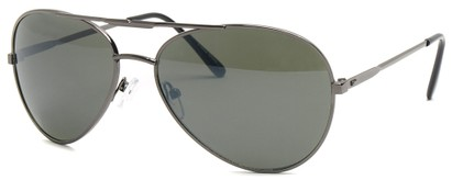 Angle of SW Aviator Style #435 in Grey Frame with Smoke Green Lenses, Women's and Men's