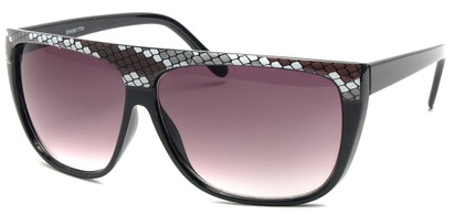 Angle of SW Snake Print Style #8817 in Black Frame, Women's and Men's