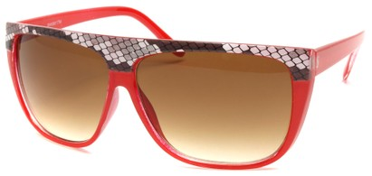 Angle of SW Snake Print Style #8817 in Red Frame, Women's and Men's
