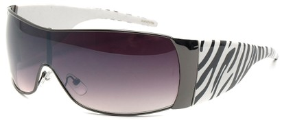 Angle of SW Animal Print Style #474 in Grey and White Zebra Frame, Women's and Men's