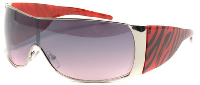 Angle of SW Animal Print Style #474 in Silver and Red Zebra Frame, Women's and Men's